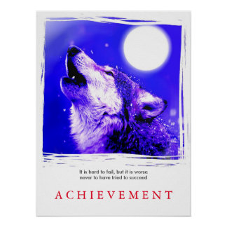 Unique Motivational Howling Wolf Poster Print