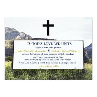 Unique Mountain Christian Wedding Event Invite