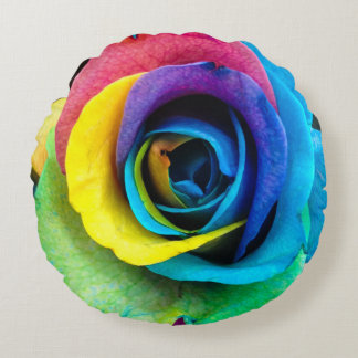 Unique, Multi-Colored Rose Round Pillow! Round Pillow