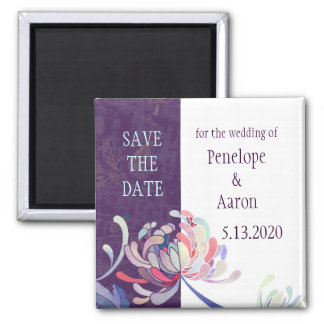 Unique Mums Purple Wedding Save the Date Magnet