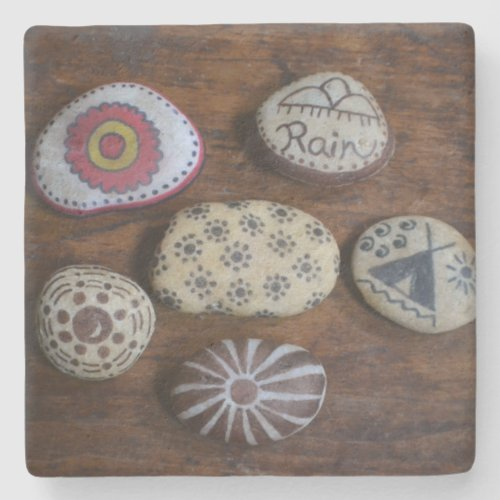 Unique Native American Folk Symbols Stone Coaster