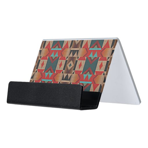 Unique native american indian tribe mosaic pattern desk for Unusual business card holders