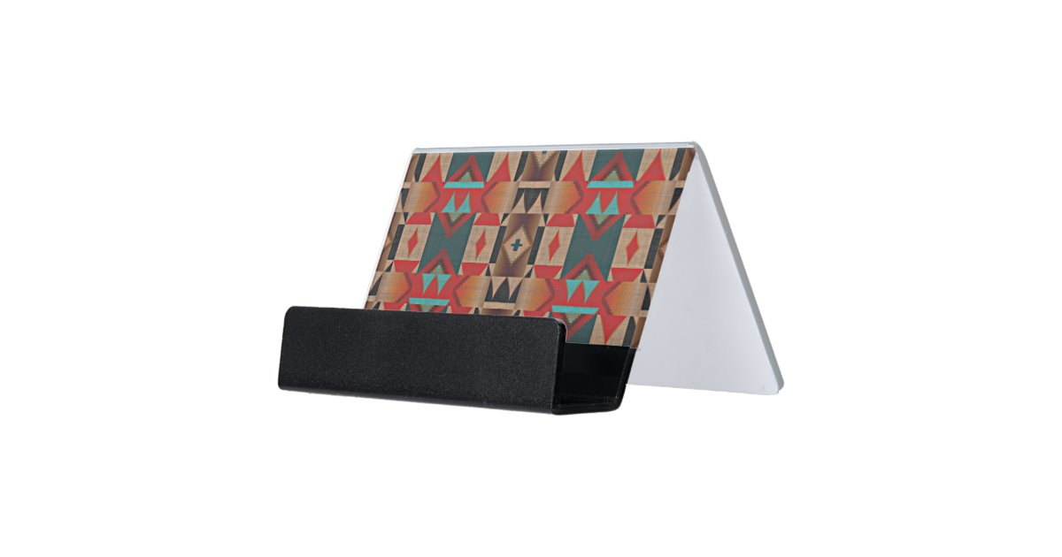 Unique Native American Indian Tribe Mosaic Pattern Desk Business Card Holder Zazzle Com