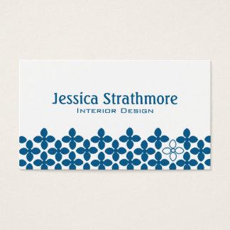 Unique Navy Blue Floral Business Cards