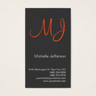 Unique Orange Monogram Grey Business Card