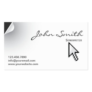 Unique Page Curl Songwriter Business Card