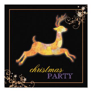 Unique Patchwork Reindeer Black Christmas Party Card