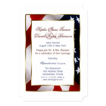 Unique Patriotic Elegant USA Flag Evening Wedding Invitation