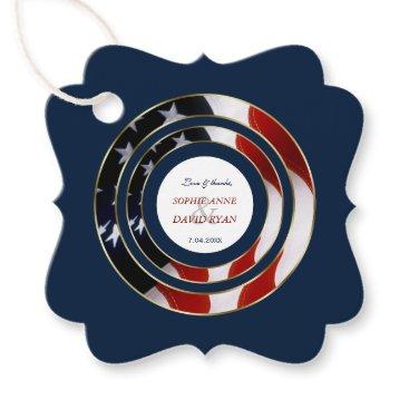 Unique Patriotic Elegant USA Flag Gold Wedding Favor Tags