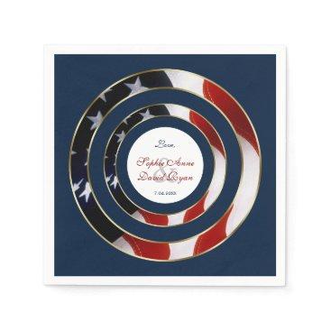 Unique Patriotic Elegant USA Flag Gold Wedding Napkin