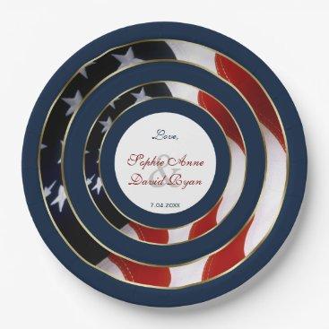 Unique Patriotic Elegant USA Flag Gold Wedding Paper Plate