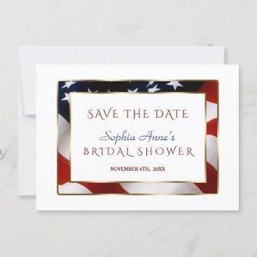 Unique Patriotic USA Flag Gold Save The Date
