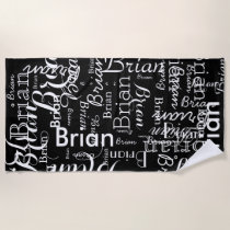 unique pattern of names black-and-white beach towel