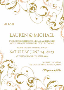 Unique Peach Gold Wedding Invitations Swirls