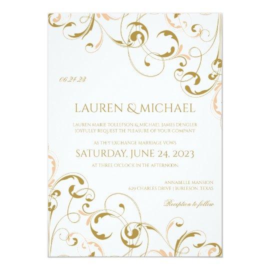 Unique Peach Gold Wedding Invitations Swirls
