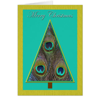 Unique Peacock Christmas Tree Christmas Card