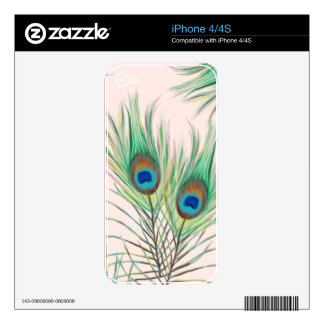 Unique Peacock Feathers Pattern Skin For The iPhone 4S