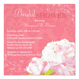 Unique Peony Theme Coral Pink Bridal Shower Card