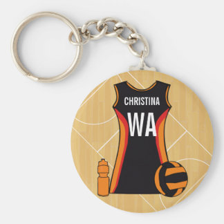 Unique Personalised Netball Basic Round Button Keychain