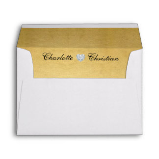 Unique Personalized Gold Foil Liner Return Address Envelope
