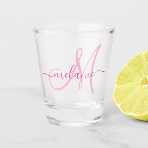 Unique Personalized Monogram Name Script Pink Shot Glass