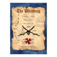 Unique Pirate Skull and Sword Wedding Invitation