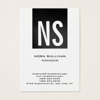 Unique plain simple grey black white monogram business card