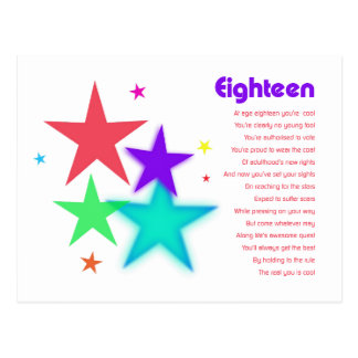 Unique poem for 18 year old reaching for the stars postcard