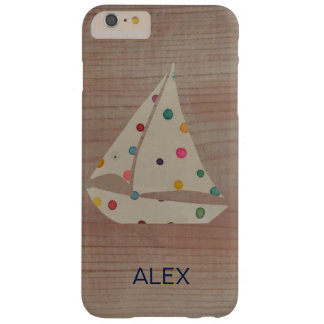 Unique Polka Dots Boat on Wood Print iPhone Case