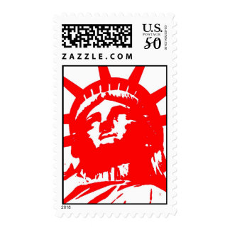 Unique Pop Art Red White Statue of Liberty Stamp