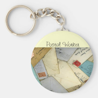 Unique Postal Worker Old Letters Design Basic Round Button Keychain