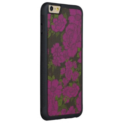 Unique Purple Abstract Roses Carved® Maple iPhone 6 Plus Bumper Case