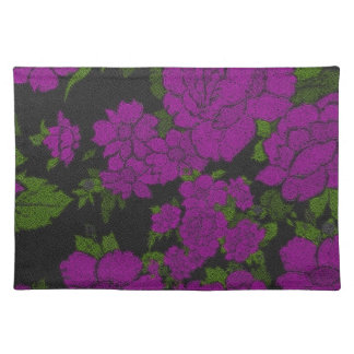 Unique Purple Abstract Roses Cloth Placemat