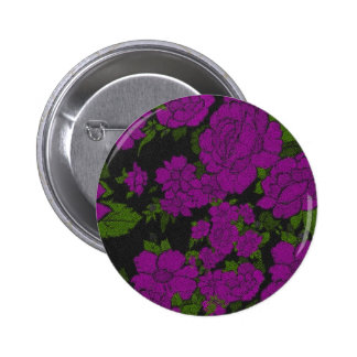 Unique Purple Abstract Roses Pinback Button