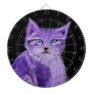 Unique purple, lilac painted cat with blue eyes dartboard