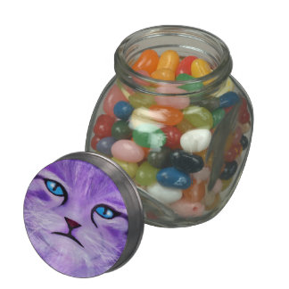 Unique purple, lilac painted cat with blue eyes jelly belly candy jar