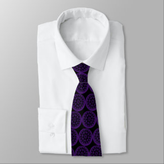 Unique purple mandalas on black tie