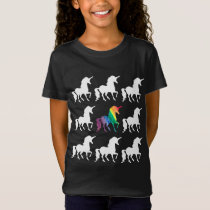 Unique Rainbow Black & White Unicorn Pattern Girls T-Shirt