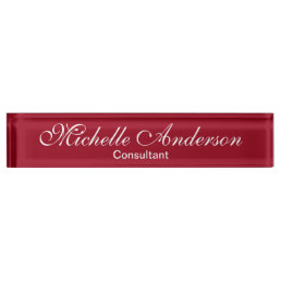 Unique Red Carmine Script Consultant Nameplate