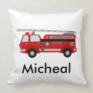 Unique red fire truck throw pillow