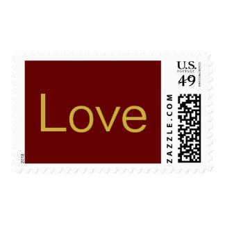 Unique Red Gold Calligraphic Love Wedding Postage