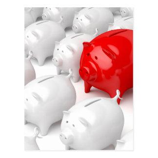 Unique red piggy bank postcard