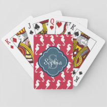 Unique Red Seahorse Pattern Blue Monogram Playing Cards
