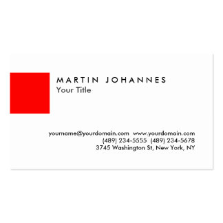 Unique red white professional business card