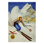 Unique Resorts Ski Vintage Travel Poster
