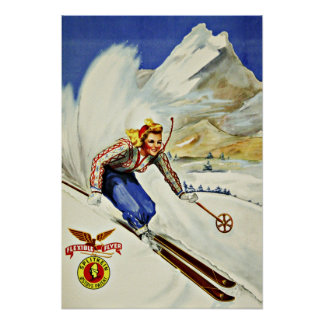 Unique Resorts Ski Vintage Travel Poster