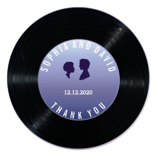 Unique Retro Vinyl Record Wedding Custom THANK YOU Card
