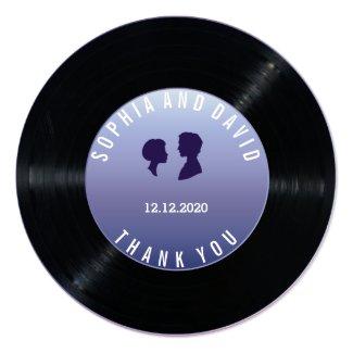 Unique Retro Vinyl Record Wedding Custom THANK YOU Card
