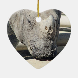 Unique Rhinoceroses Photo Custom Ceramic Ornament