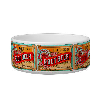 UNIQUE ROOT BEER COLORFUL CAT DISH PET WATER BOWLS